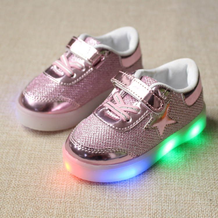 Eur21-25// New Baby Children Shoes with LED Light up Shoes Toddler Anti-Slip Kids Girls boy luminous glowing Sneakers(China (Mainland))
