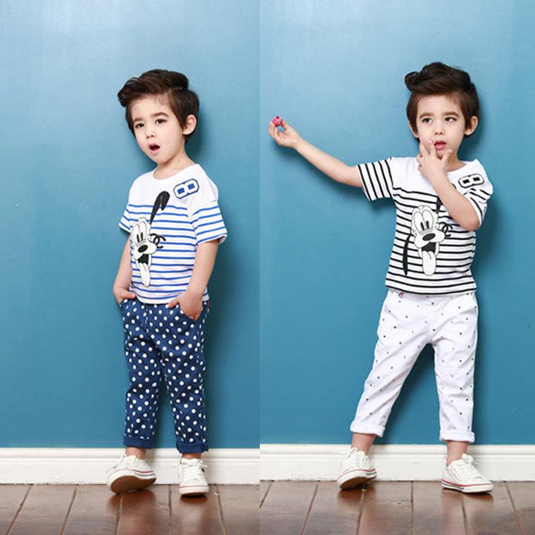 New Summer Baby Cartoon Striped T Shirt Pluto Cotton Boy Pet Dog Tops Korean Pattern Puppy Child T-shirts Kids Striped T Shirt(China (Mainland))