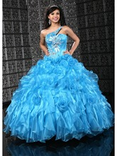Gorgeous One Shoulder Sweetheart Sleeveless Lace Up Handmade Flowers Organza Ball Gown Blue Quinceanera Dresses OT1677(China (Mainland))