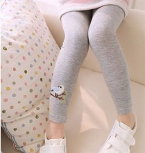 Baby Kid Girl Cotton Pant Embroidery Bird Warm Stretchy Leggings Trousers Free Shipping