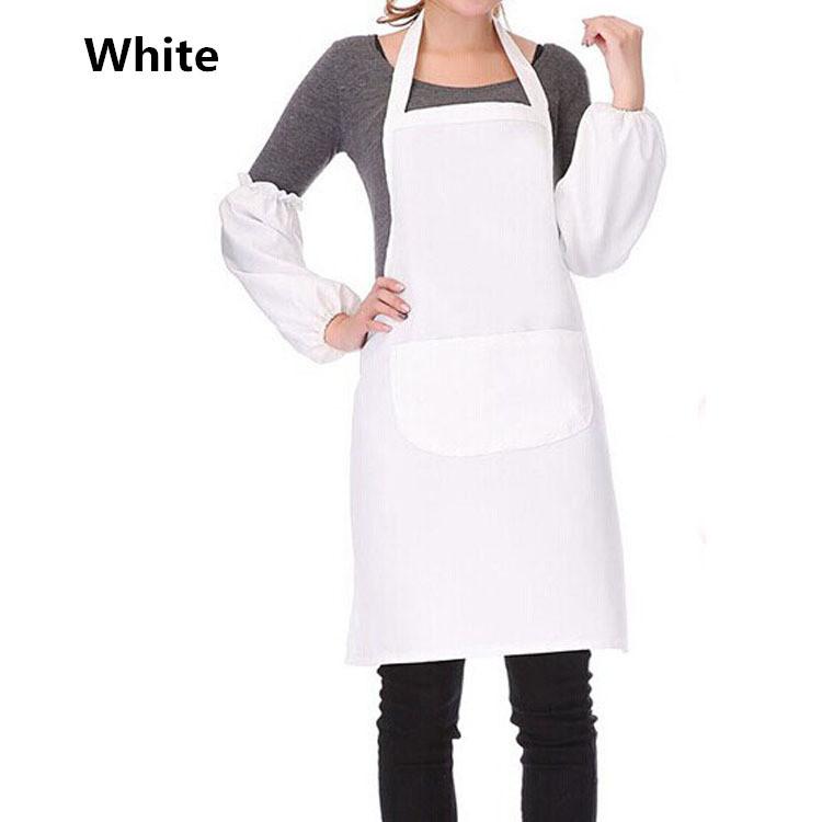 16 Color white apron Bib Uniform with Pockets for home Kitchen Hotel Resturant avental Polyester bbq schort avental de cozinha(China (Mainland))