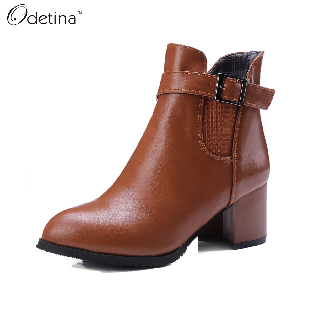 Odetina 2016 Handmand Large Size Plush Chunky Block Heel Black Leather Ankle Boots with Buckles Brown Pointed Toe Booties Zip Up(China (Mainland))
