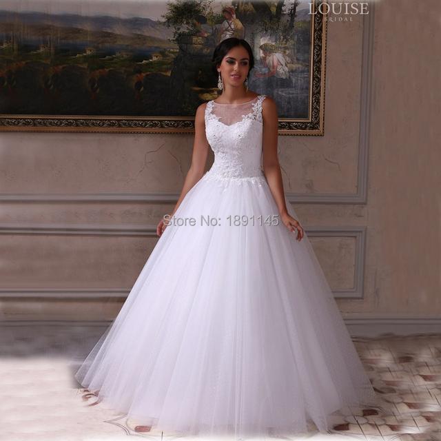 Старинные кружева свадебные платья 2016 белый чистой шеи видеть сквозь принцесса ...