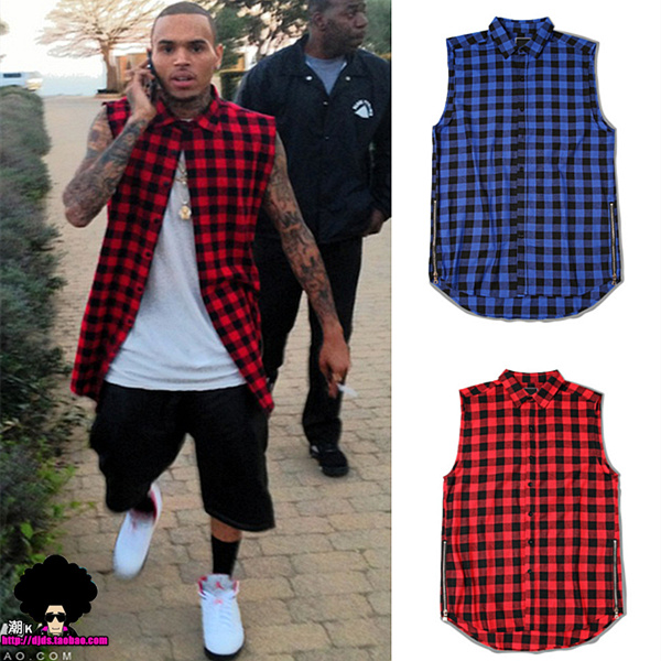 2016 Summer style Fashion t shirt men Scottish plaid Side zipper tshirt hip hop trend chris brown same paragraph camisa masculin(China (Mainland))