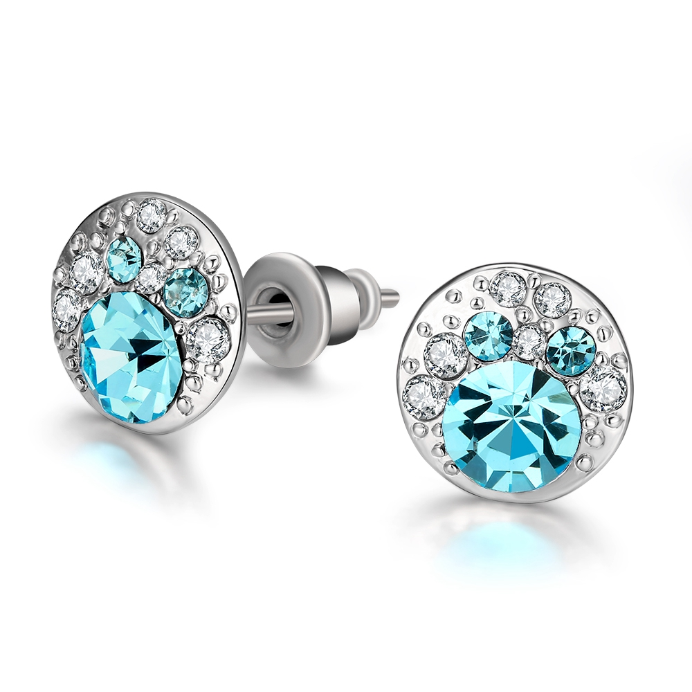 blue crystal earrings for women white gold studs fashion