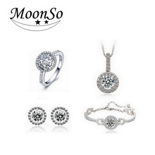 Real 925 Sterling Silver Jewelry Sets CZ Diamond Wedding Engagement Bridal Sets for women African J304(China (Mainland))