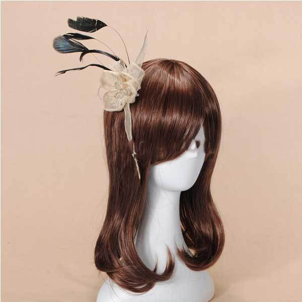 Hisales Mini Feather Yarn Flower Headpiece Fascinator Brooch Hair Clip(China (Mainland))