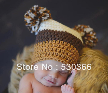 Free shipping cute 2 style colourful stripes style baby hat handmade crochet photography props newborn baby cap