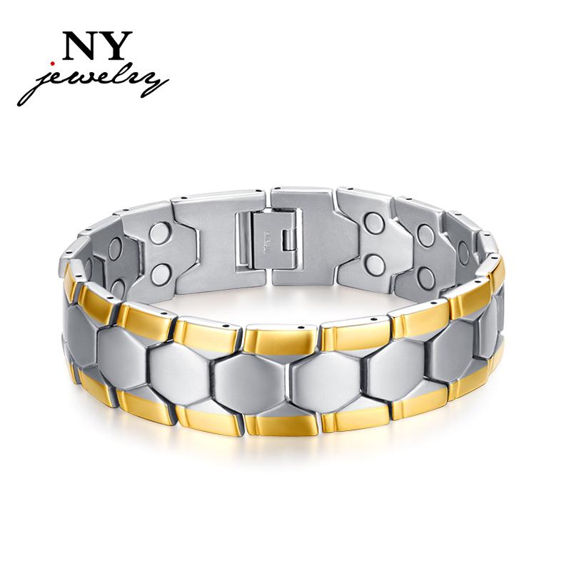High Quality titanium bracelet bangle with magnetic germanium health chain men charm jewelry(China (Mainland))