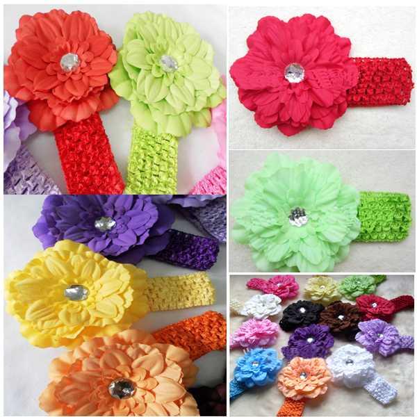 12pcs/set Baby Kids Flower Hairbands,Girls Rubber Headband,Infant Knitting Hair Accessiries(China (Mainland))