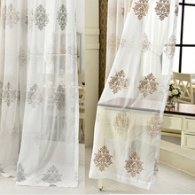 byetee Simple white modern bedroom livingroom tulle curtain window gauze material embroidered curtain fabric(China (Mainland))