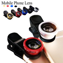 For samsung galaxy J1 J2 J3 J5 J7 fisheye macro wide angle 3 in 1 universal clip mobile phone camera lenses