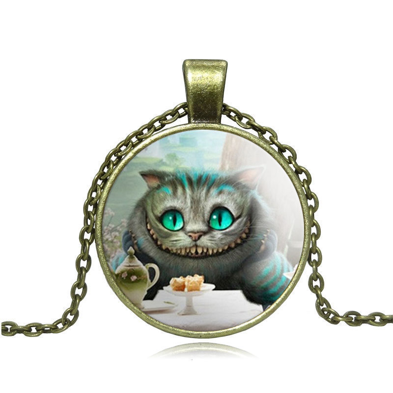 Cheshire Cat Pendant Necklace Glass Cabochon Vintage Bronze Statement Chain Necklace For Women Fashion Jewelry(China (Mainland))