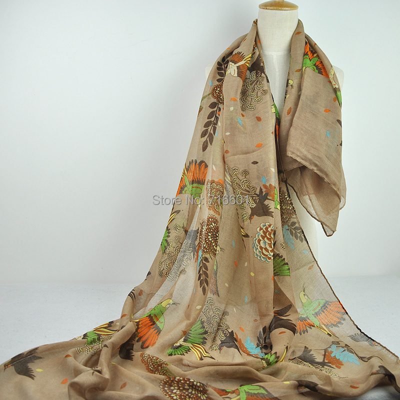 1 PC 180cm*90cm Tree Branch and birds flyer pattern Printed voile scarf Wrap Shawl for women ladies girls 7 colors Free Shipping(China (Mainland))