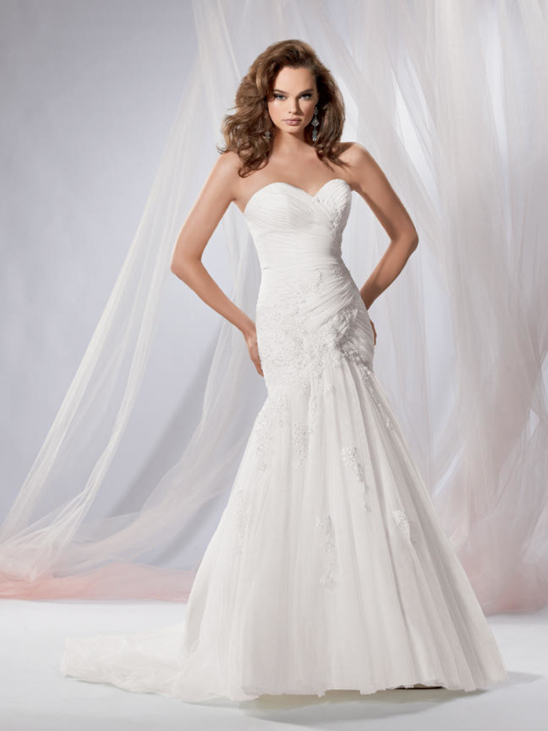 Robe mariage bride dresses tulle sweetheart court train for Wedding dress no train