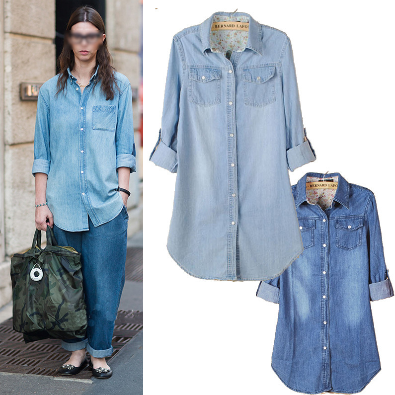 2015 European Style Women Denim Blouse Jean Shirt Slim