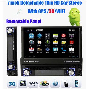 Android 7 inch Detachable 1Din HD Car Stereo DVD player BT IPOD WIFI 3G Universal GPS Navigation Multimedia DHL, freeshiping(China (Mainland))