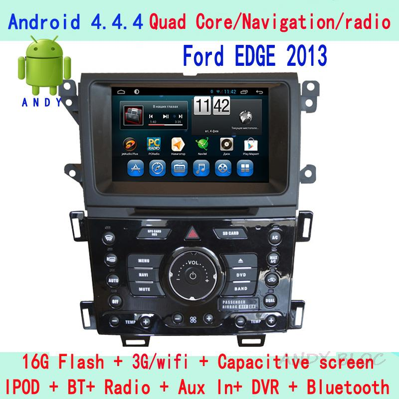 2 din Android 4.4.4 Touch Screen Car video Player case For Ford EDGE 2013 car gps navigation audio Free map+rearview camera(China (Mainland))