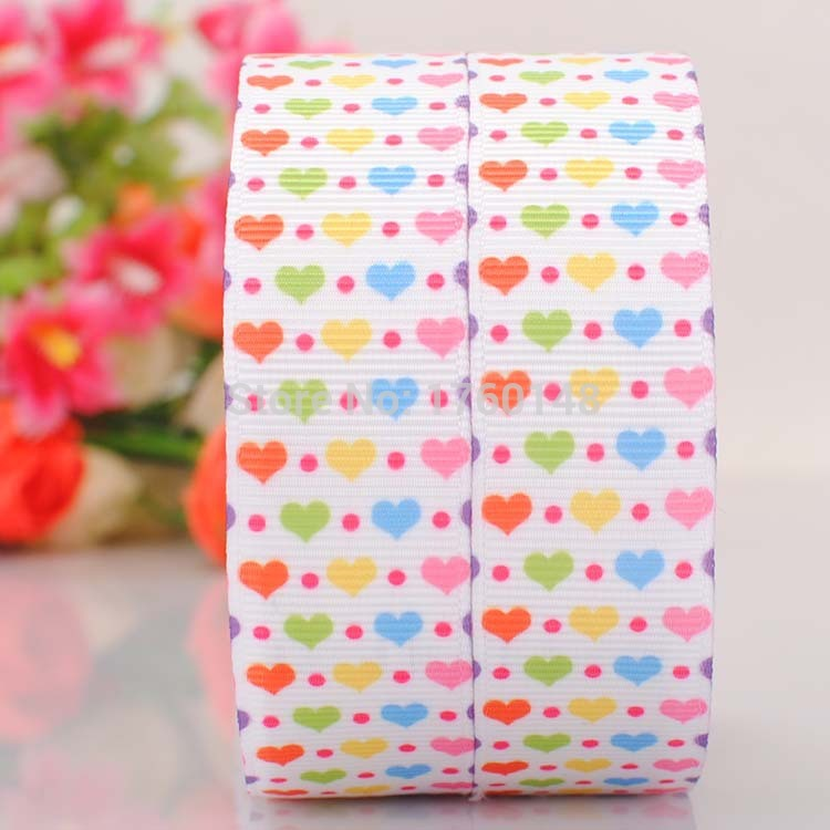 """7/8"""" Heart Valentine's Day tape Printed Grosgrain Cartoon Ribbon DIY gift wrapping garment Bag clothing hair accessories 4097(China (Mainland))"""