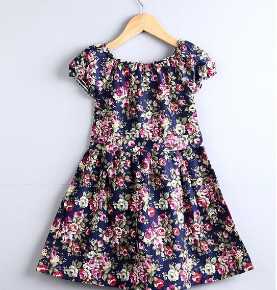 2016 summer girl white and navy dress baby girls floral