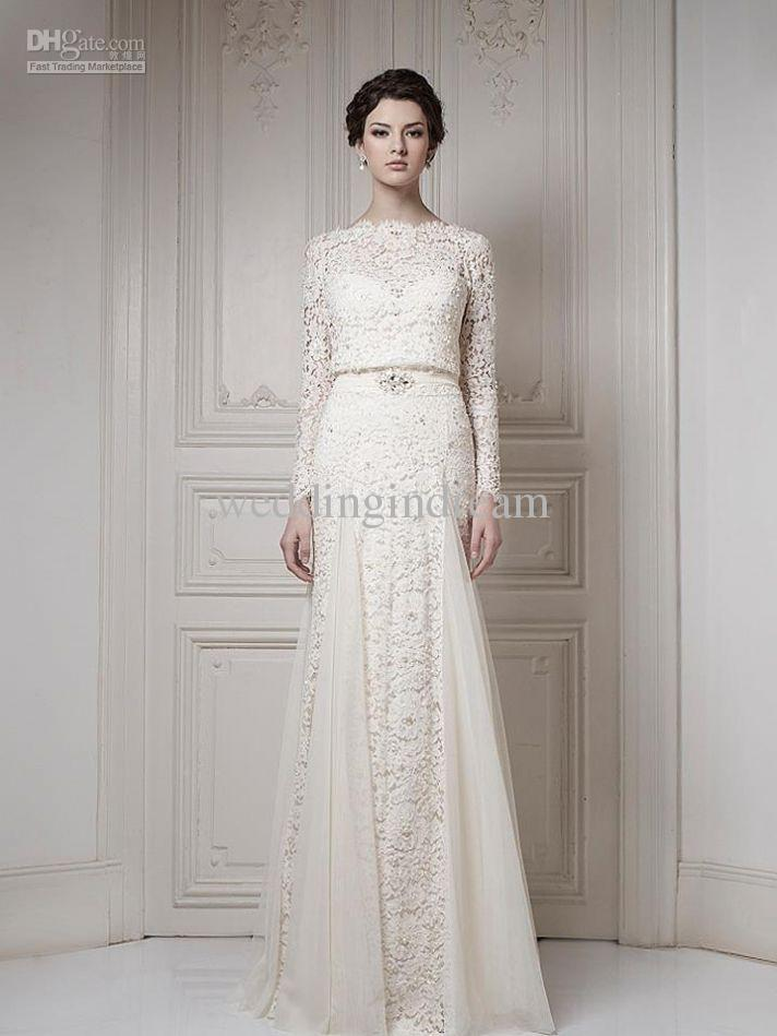 Best Selling Bateau Ivory A Line Long Sleeves Sash Cool Muslim Lace Bridal Go