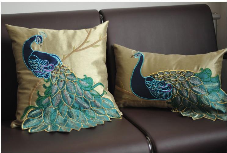 Luxury Handmade Sequins Peacock Cushion Faux Silk