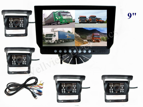 24V DC 9inch monitor waterproof bus CCD cameras Quad Reversing Camera Kit for truck,bus,SUV,Can