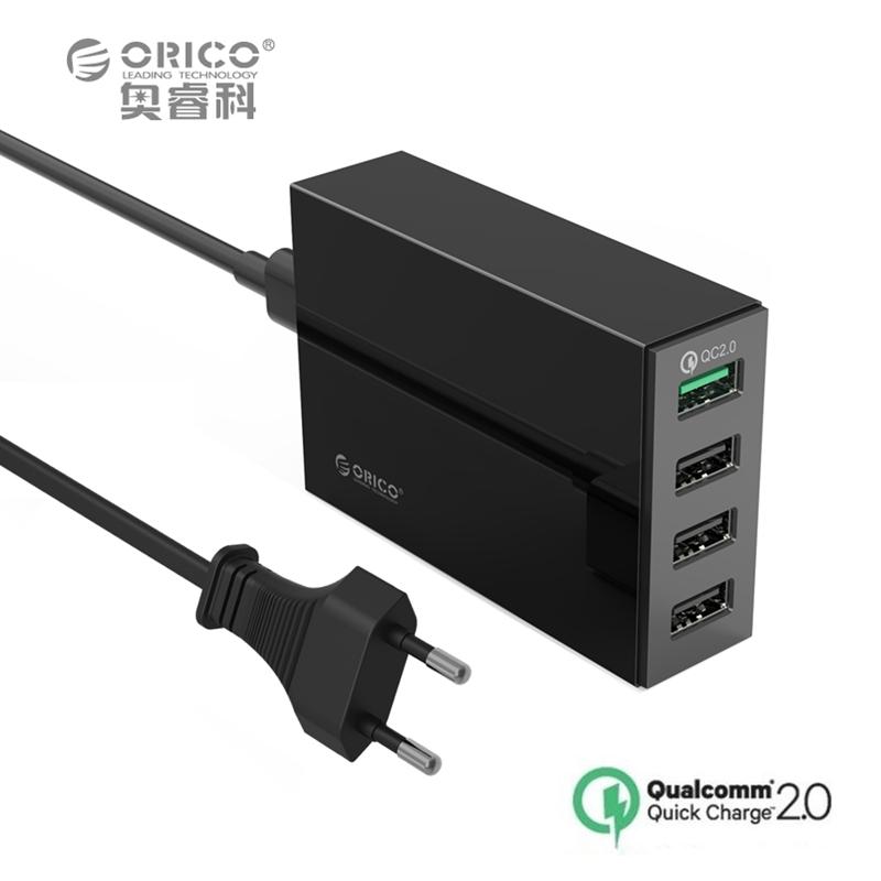ORICO QSL-4U 4 Ports QC2.0 5V2.4A 9V2A 12V1.5A Desktop USB Quick Charger with EU or US Plug - Black(China (Mainland))