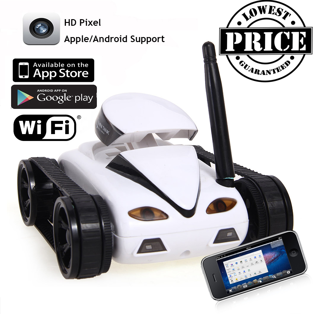 RC Mini Tank Car I Spy with Video 0.3MP Camera 777-270 WiFi Remote Control By Iphone Android Robot with Camera 4CH APP White(China (Mainland))