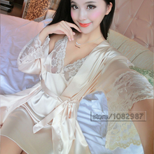 2016 Spring Summer Fall Women Silk Sleepwear Sets of Robe & Nightgown Lady Home Casual Dress Female Bathrobe Lover Sexy Lingerie(China (Mainland))