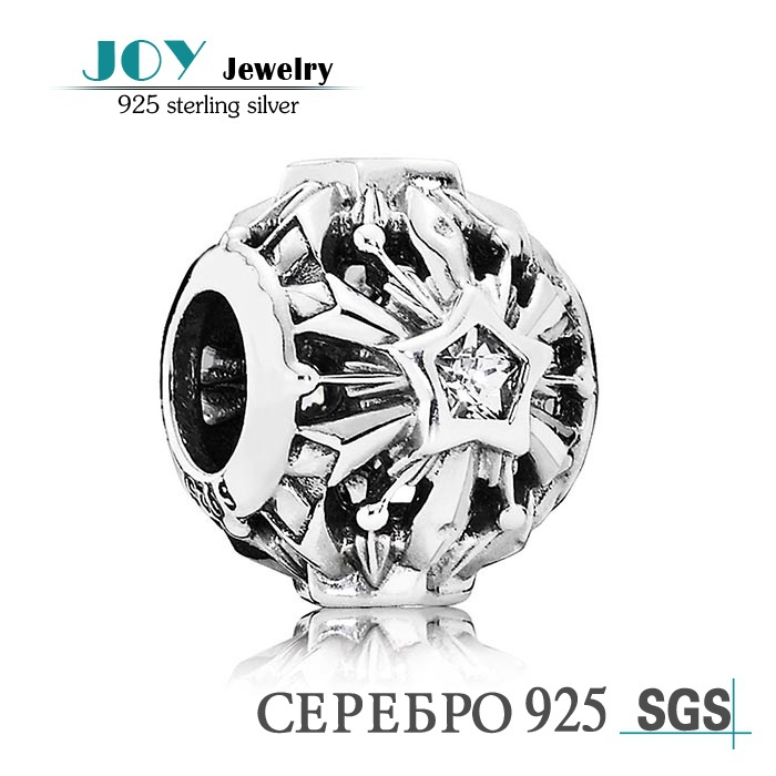 Joy Jewelry 2015 925 Cz SH0652 Sterling Silver Openwork Snowflake Charm Beads 925 sterling silver cz by the yard anklet bracelet 10