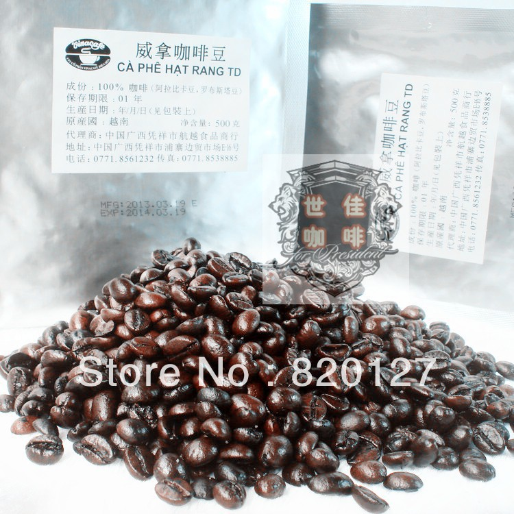 500g High Quality Vietnam Wei Take Vinacafe Charcoal Baked Coffee beans,roasted coffee ,500g/bag(China (Mainland))