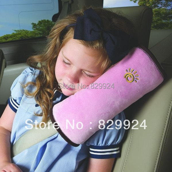 2 PCS /Lot Free Shipping Children Car Safety Belt Adjuster /Baby Car Head&Neck Pillow/ Child Auto Shoulder pad 5 Colors(China (Mainland))