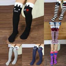 Nuovo di vendita caldo cotone calzettoni bambini in calzini del tubo al ginocchio a righe ragazze etero calze colorate  (China (Mainland))