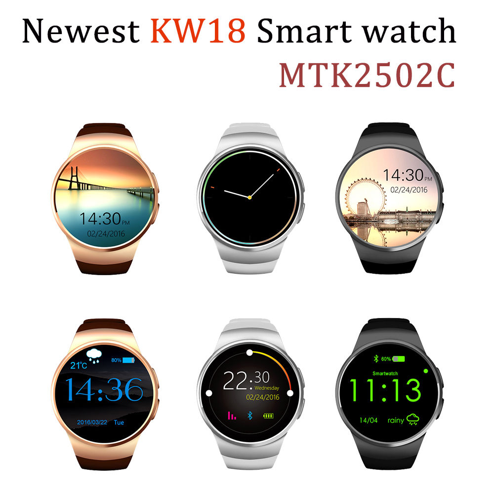 2016 Best KW18 Smart Watch Heart Rate Monitor Bluetooth 4.0 Smartwatch MTK2502C Siri & Gesture Control For iOS Andriod mobile(China (Mainland))