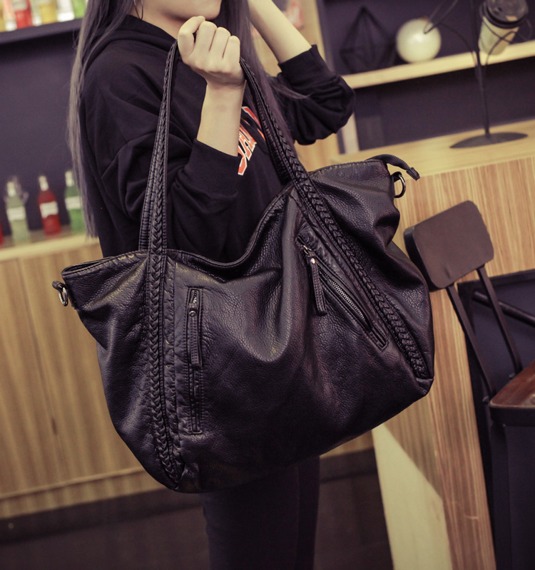 Soft Leather Handbags Big Women Bag Zipper Ladies Shoulder Bag Girl Hobos Bags New Arrivals bolsa feminina 2016 Fashion Tote(China (Mainland))