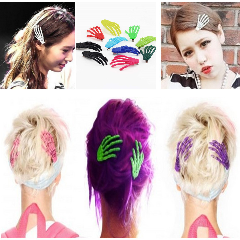 30pcs Free Shipping Halloween Party Zombie Skull Skeleton Hand Bone Claw Hairpin Punk Hair Clip For Women Girl(China (Mainland))