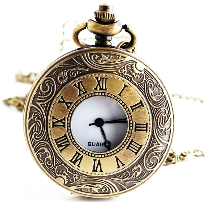 new medium size bronze pocket watch roman number clock style necklace old fashioned style woman