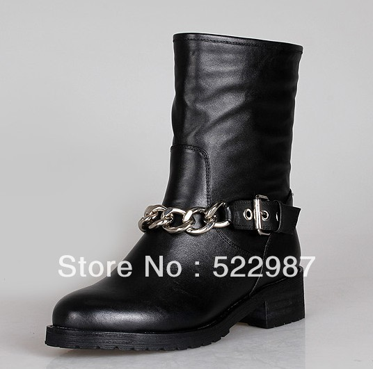 Fashion Punk women motorcyclr ankel boots leather Silver Chain hot selling winter shoes - Rose's Boutique store