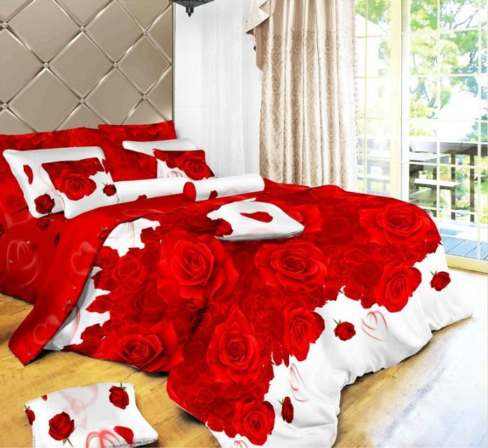 3d bedding sets queen beautiful red rose pattern,comforter set/pillowcase/quilt cover/bedspread/bed linen/bed sheet/bedclothes - china home product store