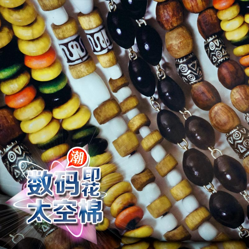 Man playing hand- beaded string of digital printing / Space cotton material / air layer three-dimensional contour fabric trends(China (Mainland))