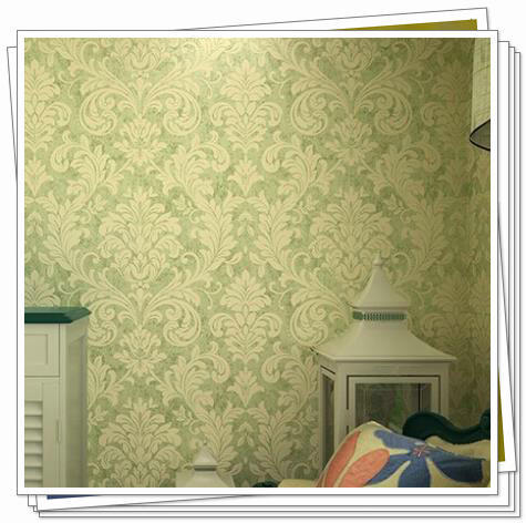 Green yellow grey damask decor wallpaper roll classic for Vintage bedroom wallpaper