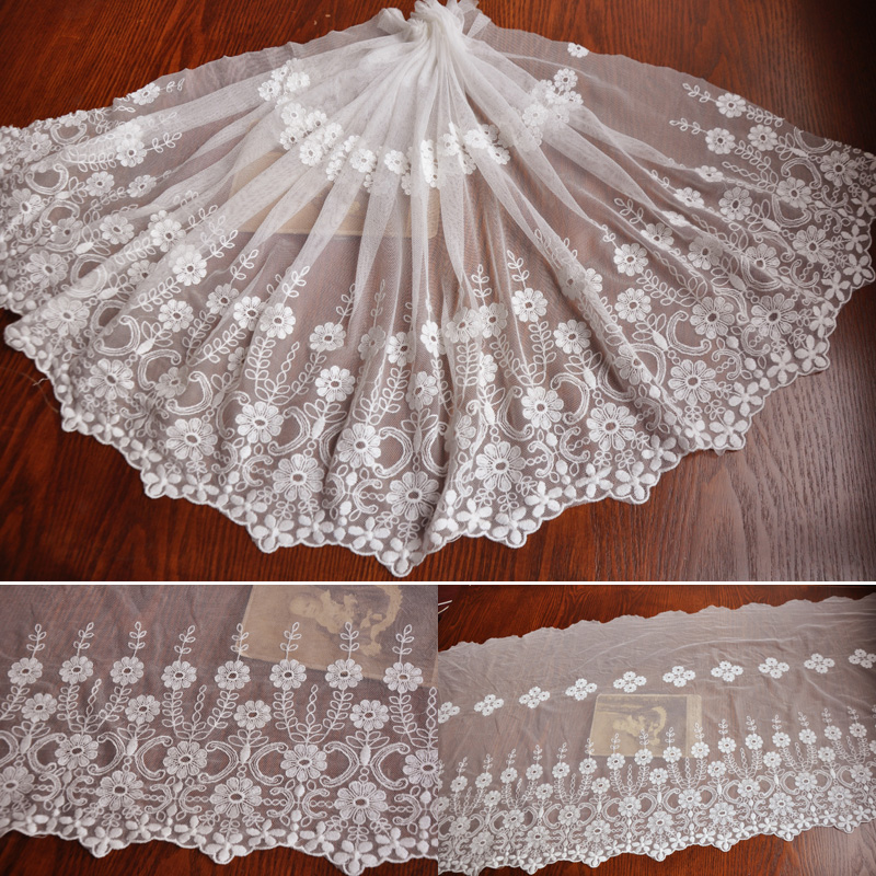 Special offer 3meters/lot Width40cm Freeshipping milk white mesh lace Fabric/clothing materials textiles lace Accessories156125(China (Mainland))