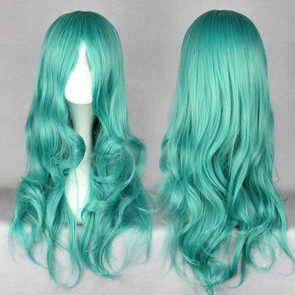 MCOSER New Arrival Curly Cosplay Anime Sailor Moon Kaiou Michiru Long Green Wig For Women(China (Mainland))