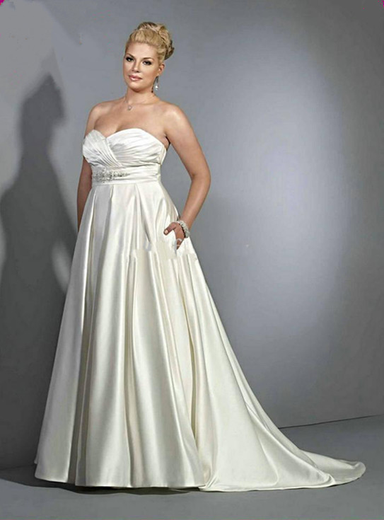 2015strapless sweetheart beads appliques satin a line for Corset wedding dresses plus size