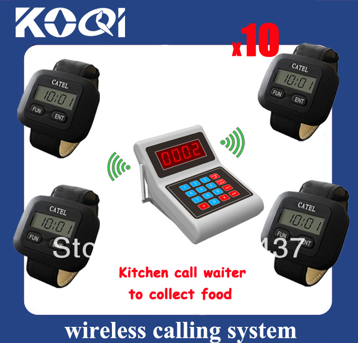 Restaurant calling system for cook call waiters to pick up order. Including 1 transmitter for cooks and 10 watch for waiters(China (Mainland))