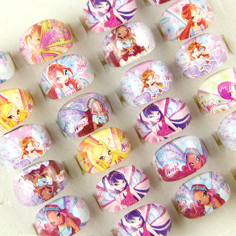 Wholesale 10pcs Lovely Cartoon Children Kids Girl Acrylic Resin Lucite Princess Rings Birthday Gift Jewelry Shop Mixed Lots(China (Mainland))