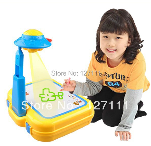 Free shipping New arrival Child painting projector oppssed easel set multicolour slide acoustooptical baby educational toys(China (Mainland))