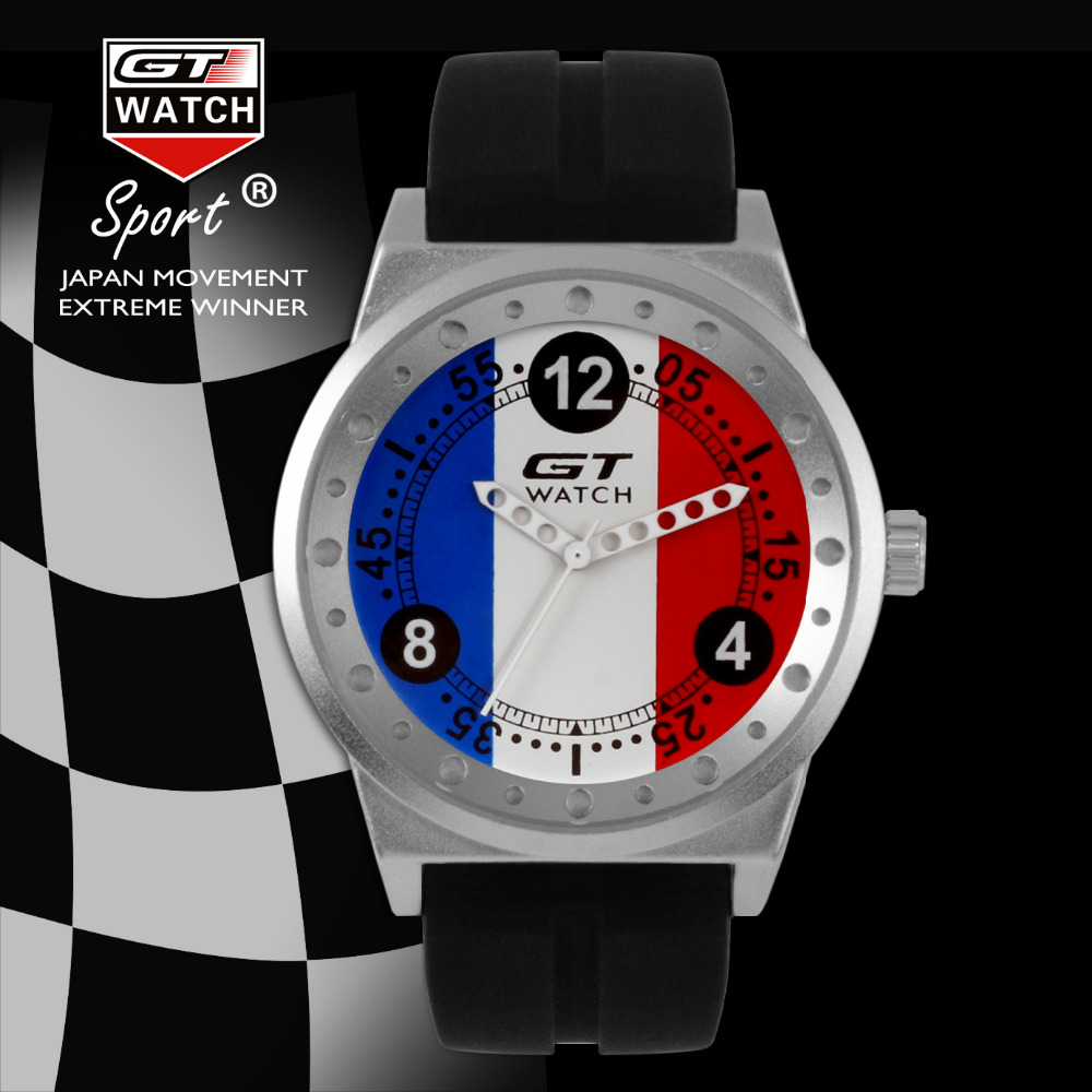 GT WATCH French Flag Montres GT Racing Sport Men's Military Wristwatch Unisex Fashion Women Casual Silicone Trend Watch(China (Mainland))