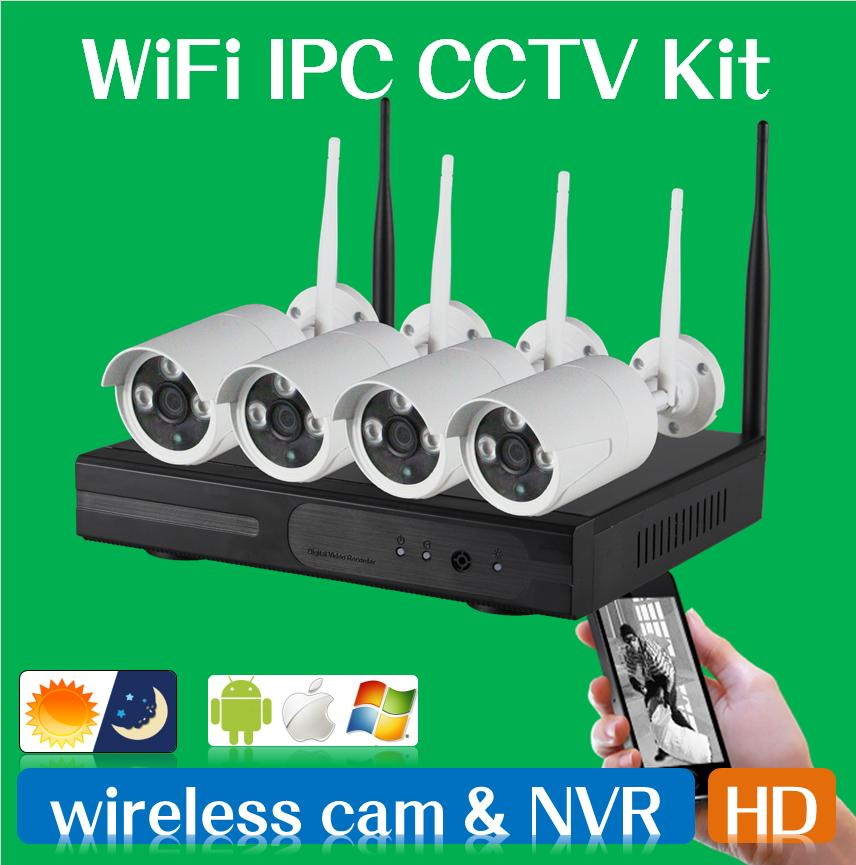 Гаджет  WIFI CCTV System 4ch Powerful Wireless NVR IP Camera IR-CUT Bullet CCTV Camera Home Security System Surveillance Kits None Безопасность и защита